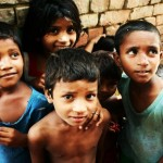 Children growing up in the slums of India